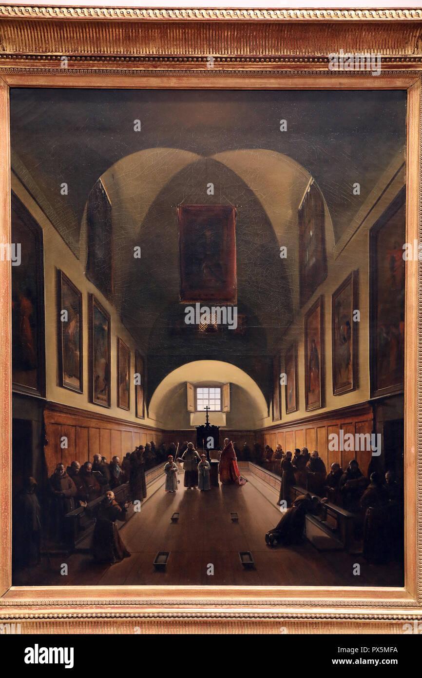 MusŽe des Beaux-Arts, Lyon, France. Fine Art museum, Lyon, France. Franois Marius Granet, Le Capuchins' chancel on plazza Barberini in Rome. Stock Photo
