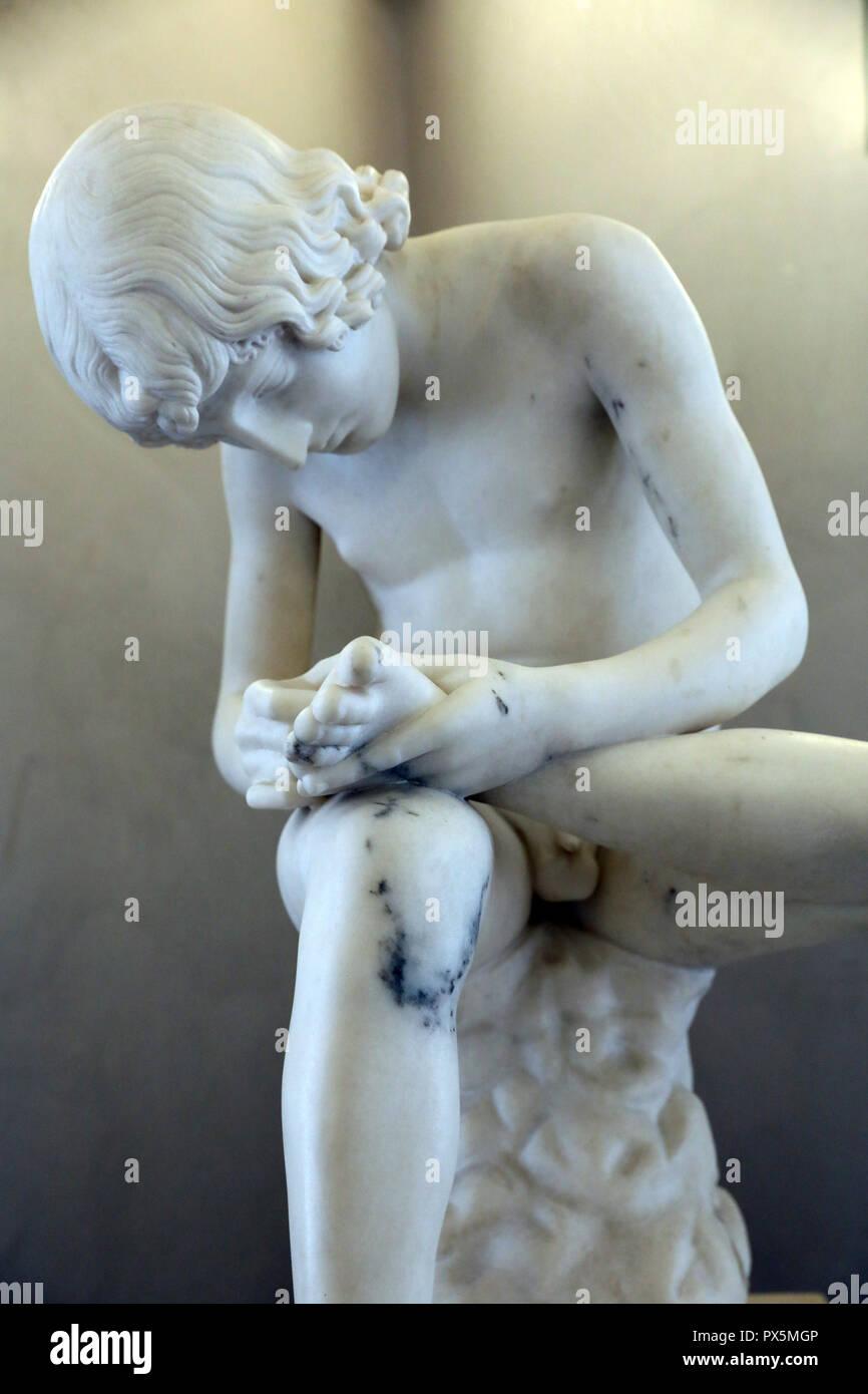 MusŽe des Beaux-Arts, Lyon, France. Fine Art museum, Lyon, France. Abel Dimier, Boy with thorn, Marble. Detail. - Stock Image