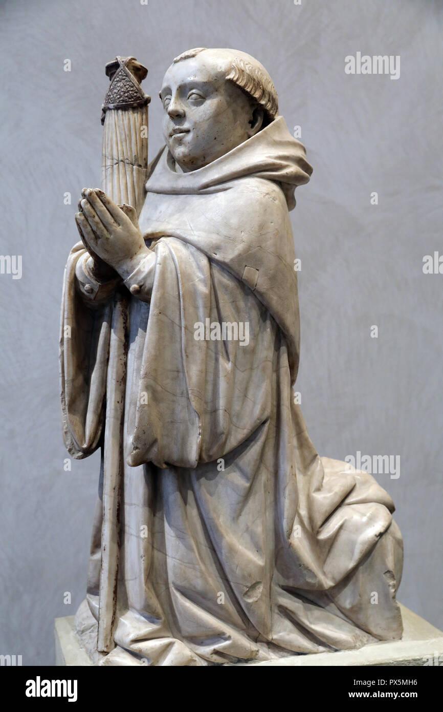 MusŽe des Beaux-Arts, Lyon, France. Fine Art museum, Lyon, France.  Burgundy, 15th century. Abbot, alabaster. Stock Photo