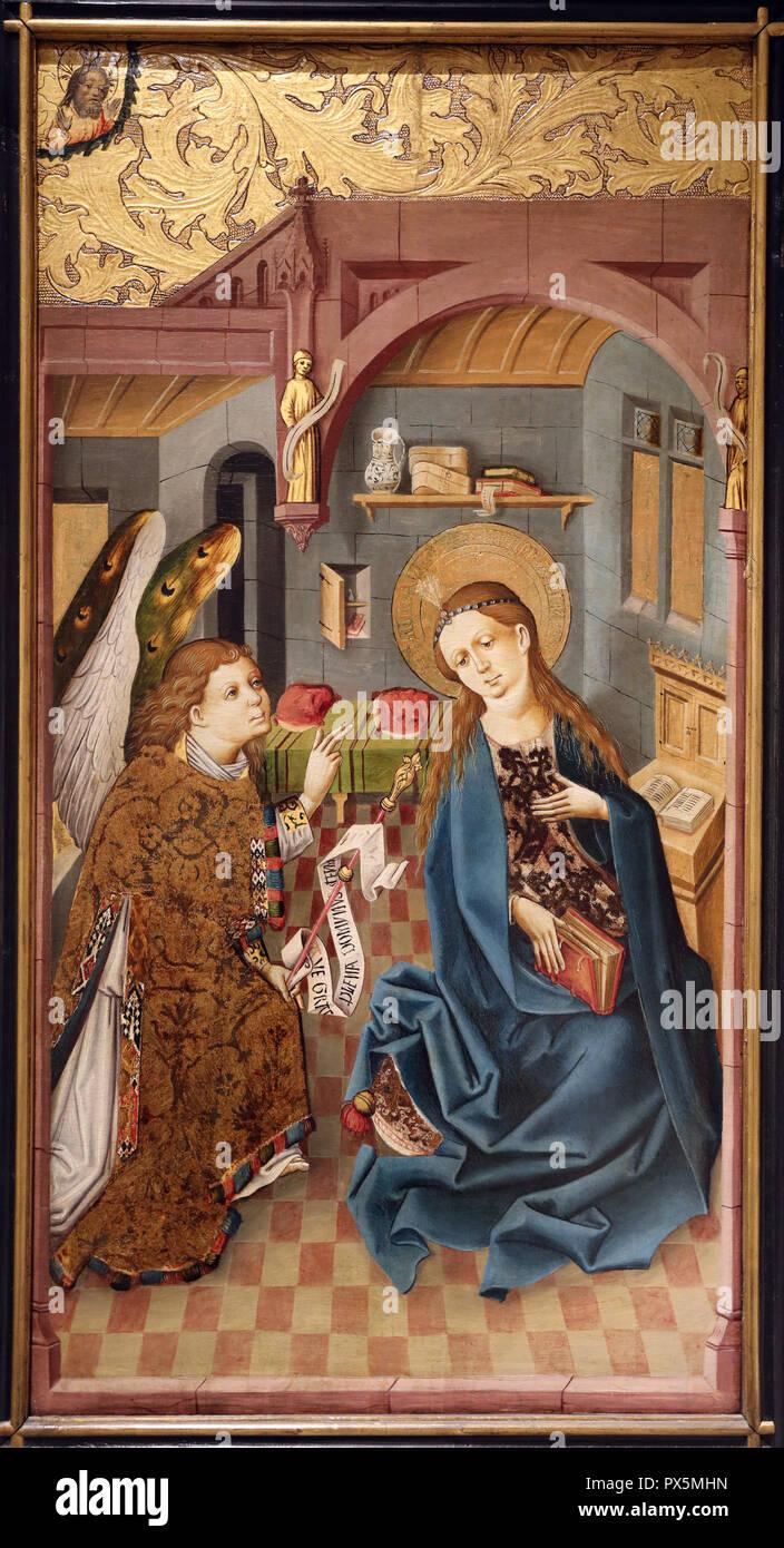 MusŽe des Beaux-Arts, Lyon, France. Fine Art museum, Lyon, France. Rhine. The Annunciation, c. 1460. Stock Photo