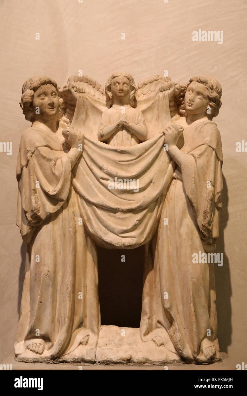 MusŽe des Beaux-Arts, Lyon, France. Fine Art museum, Lyon, France. Lombardy, Angels carrying a soul, 14th century, marble. Stock Photo