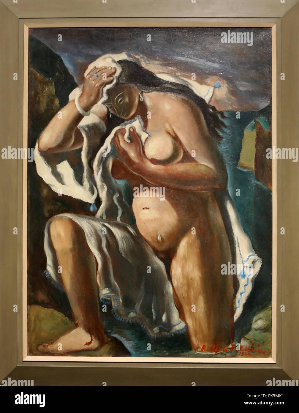 MusŽe des Beaux-Arts, Lyon, France. Fine Art museum, Lyon, France. AmŽdŽe de la Patellire, Bather with white dressing gown, oil on canvas, 1924. Stock Photo