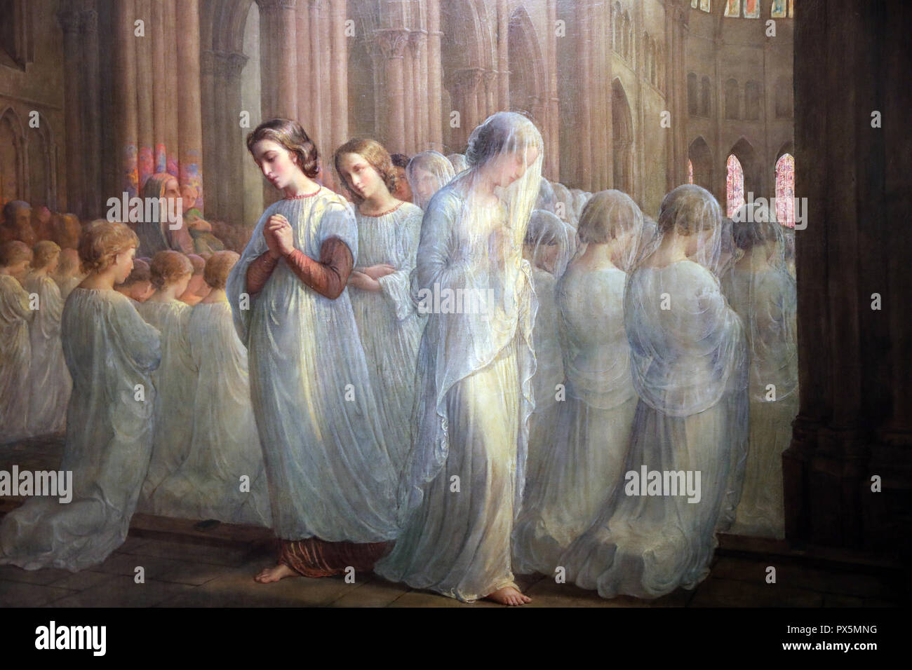 MusŽe des Beaux-Arts, Lyon, France. Fine Art museum, Lyon, France.  Louis Janmot, The Poem of the Soul, between 1835 and 1855.  First Holy Communion. - Stock Image