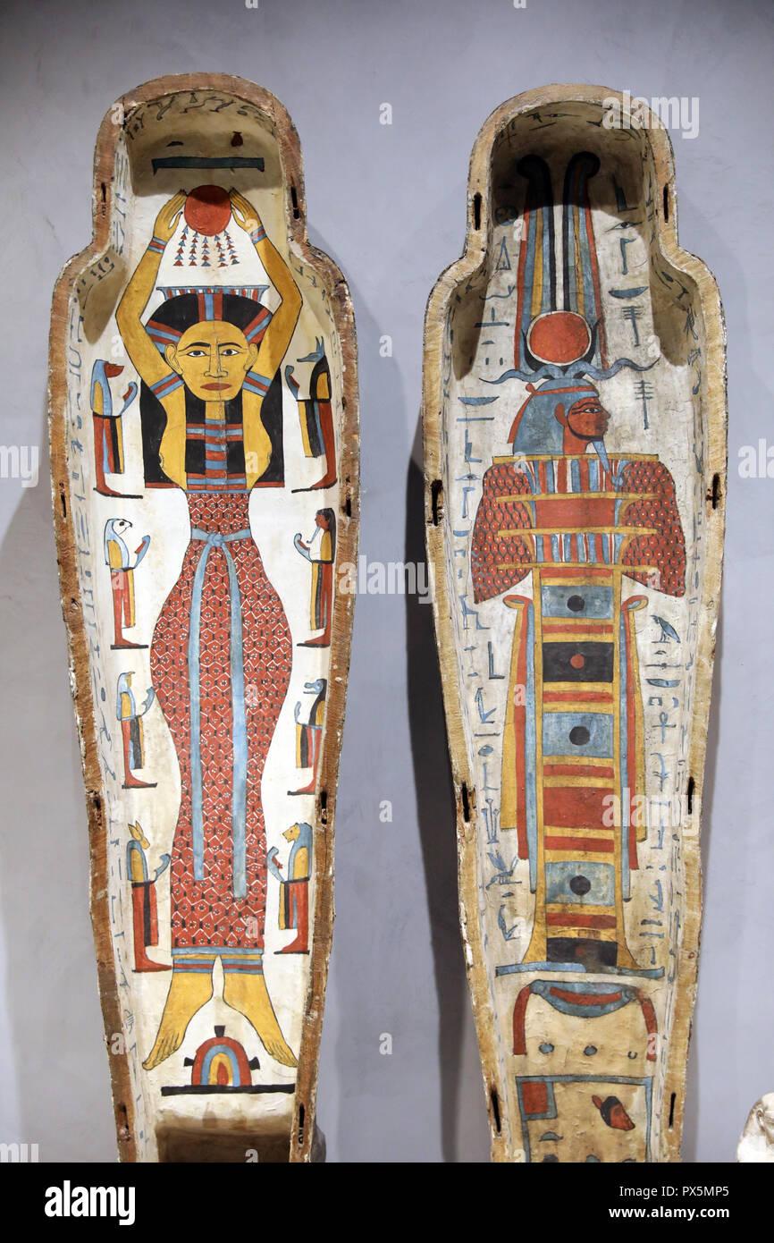 MusŽe des Beaux-Arts, Lyon, France. Fine Art museum, Lyon, France. Egyptian sarcophagus. Stock Photo