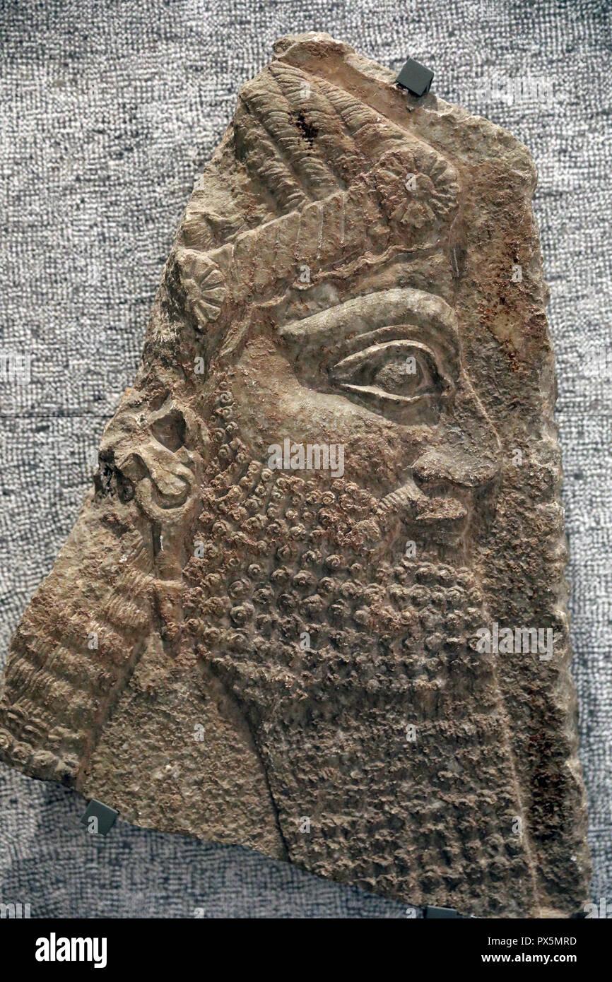 MusŽe des Beaux-Arts, Lyon, France. Fine Art museum, Lyon, France. Assyria, 8th century B.C. Priest's head. - Stock Image