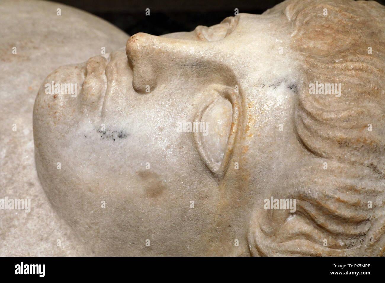 MusŽe des Beaux-Arts, Lyon, France. Fine Art museum, Lyon, France. Phenicia. Sarcophagus, 5th century B.C. Marble. Detail. - Stock Image