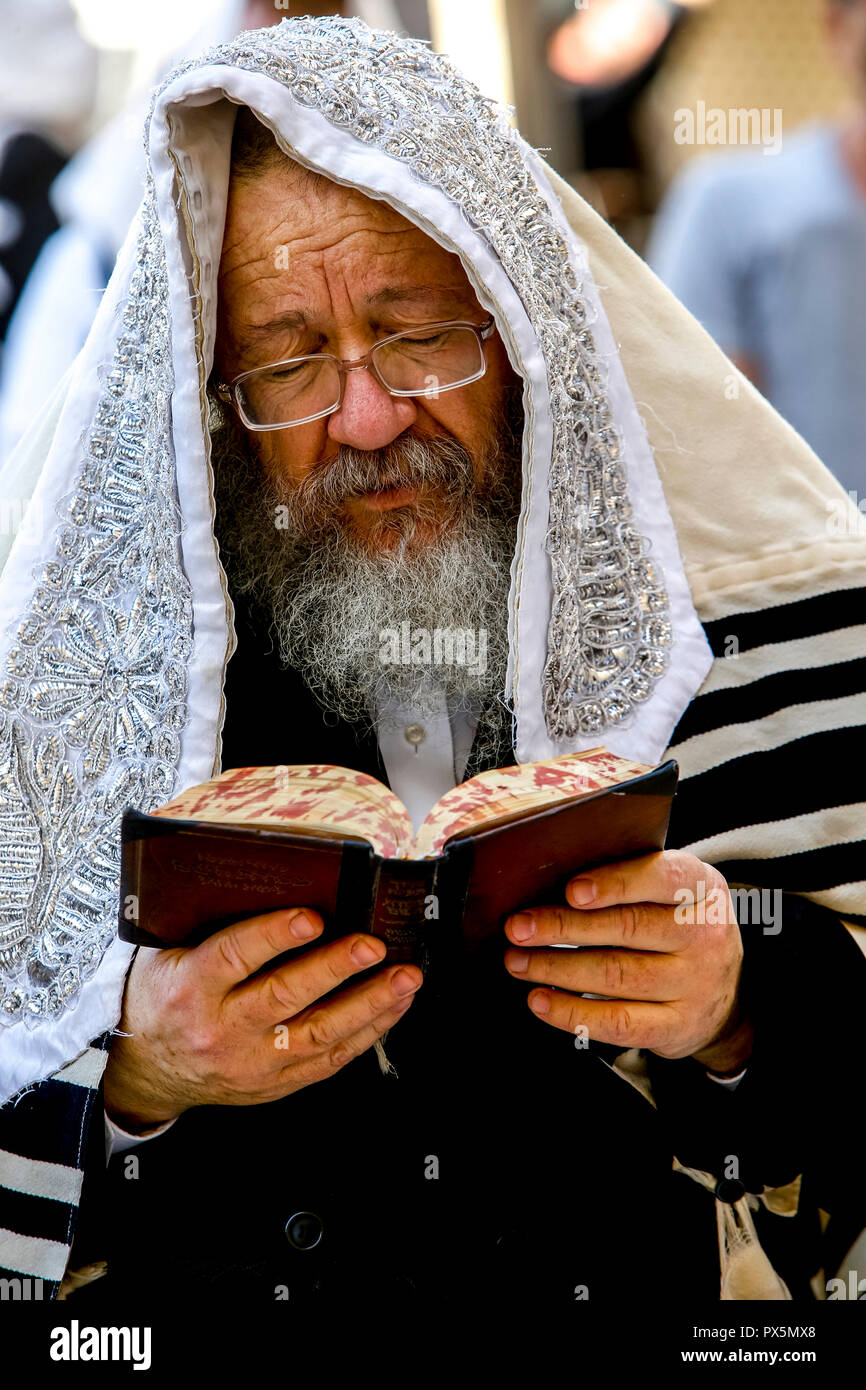 Jew reading at the western wall, Jerusalem, Israel. - Stock Image