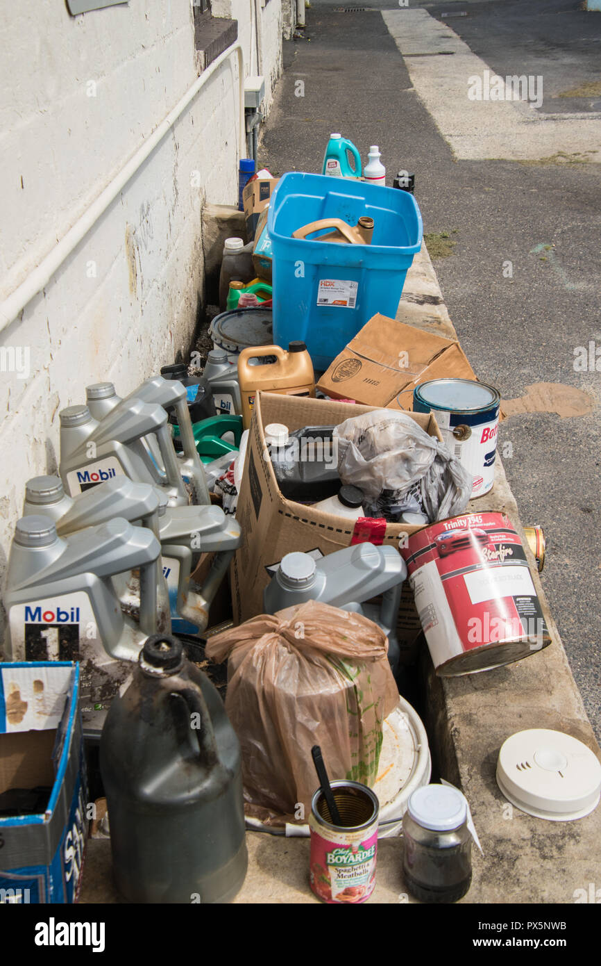 Collingswood, New Jersey - August 25, 2018: This pile of trash was seen along the side of an old gas station in this small New Jersey town on this dat - Stock Image