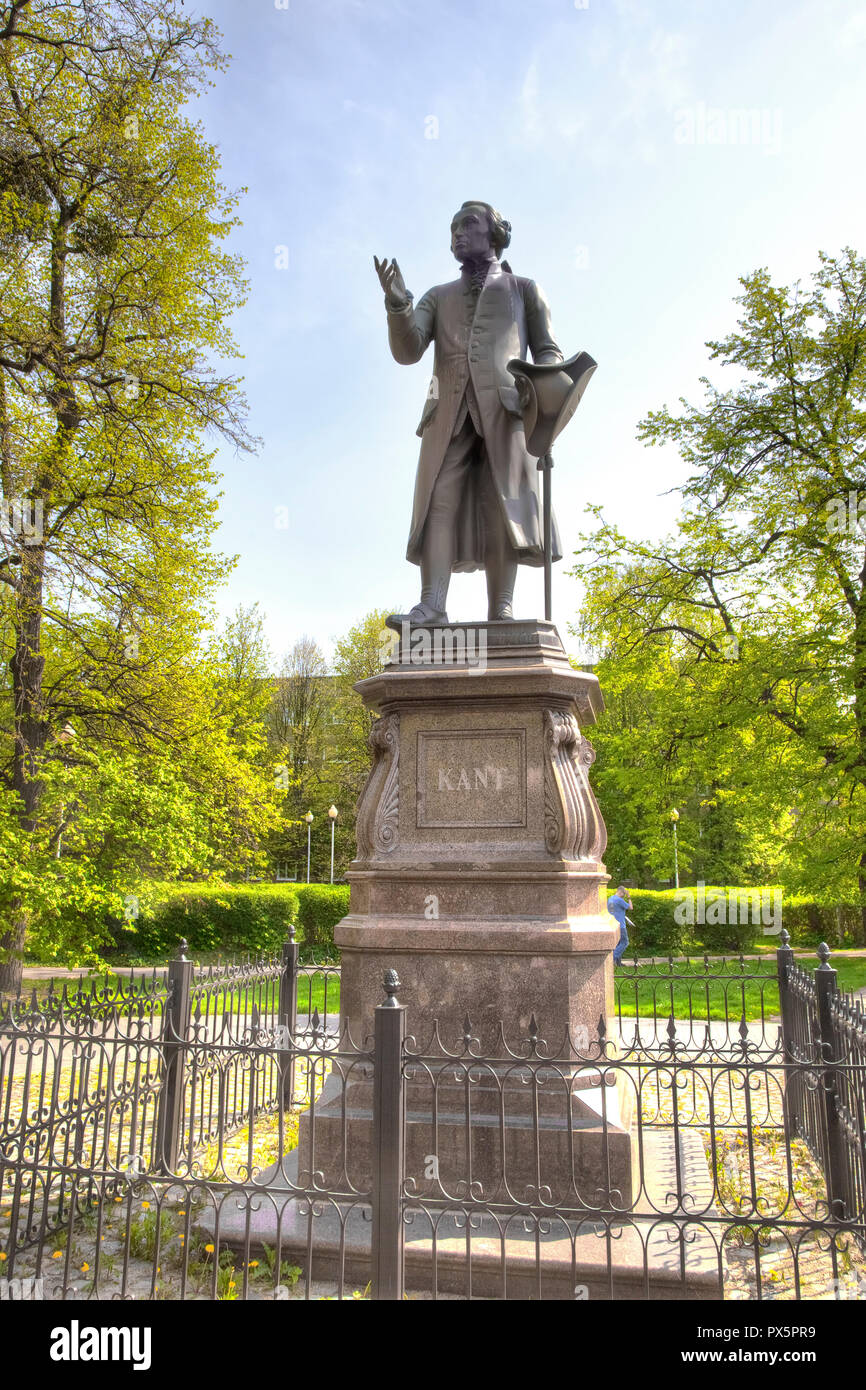 KALININGRAD, RUSSIA - April 30.2018: Monument to the famous philosopher, the founder of German classical philosophy Immanuel Kant in the historical di - Stock Image