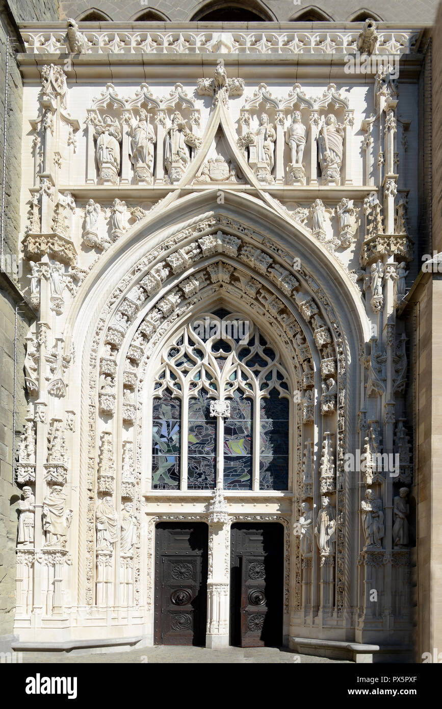 Doorway of Cathedral of Notre-Dame, Lausanne, Switzerland - Stock Image