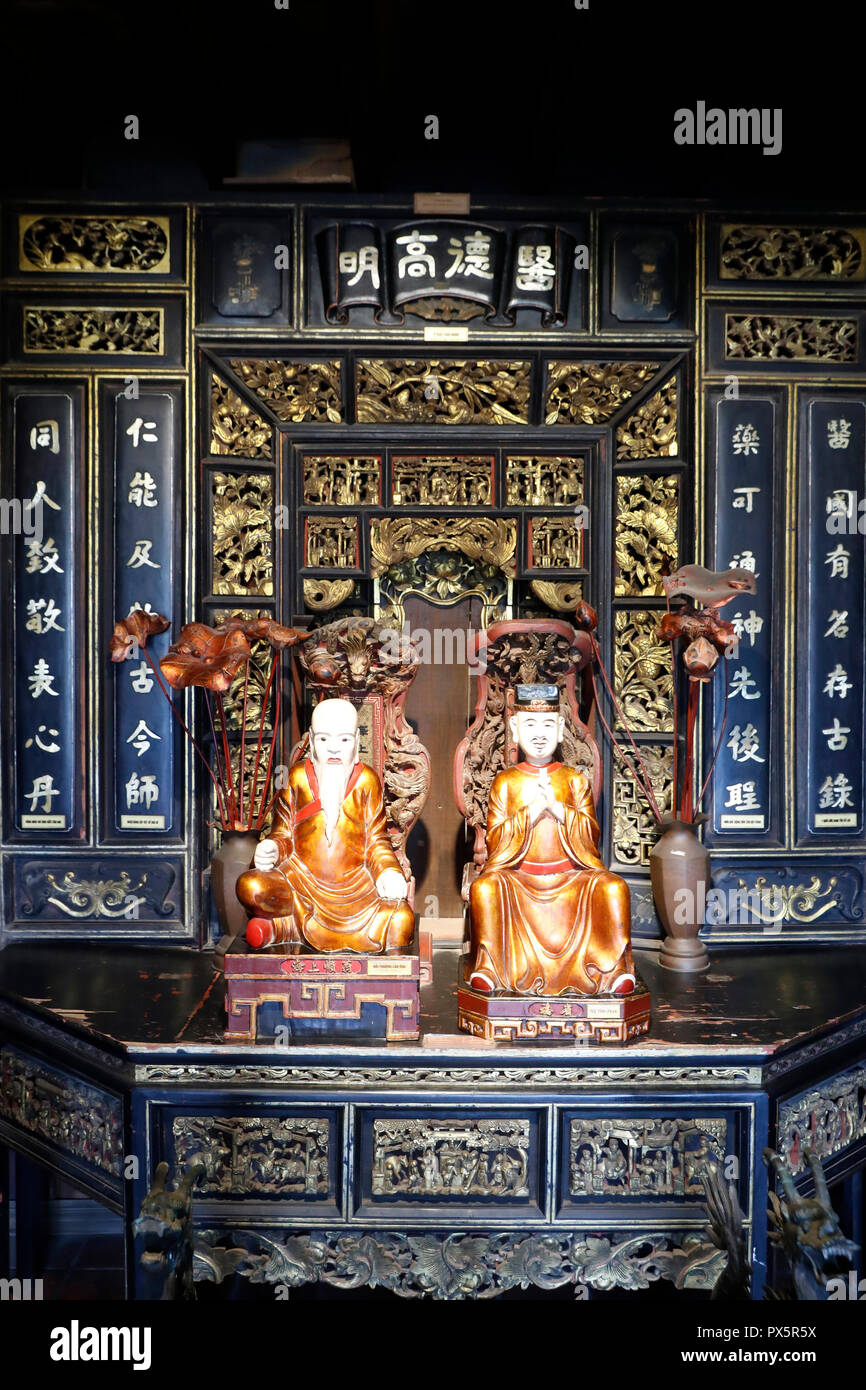 Museum of Traditional Vietnamese Medicine.  Statues of prominent ancient physicians.  Ho Chi Minh City. Vietnam. - Stock Image