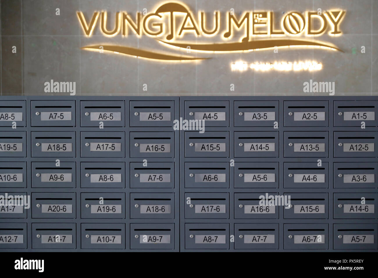 Architecture detail of a new apartment building. Mailboxes.  Vung Tau. Vietnam. - Stock Image