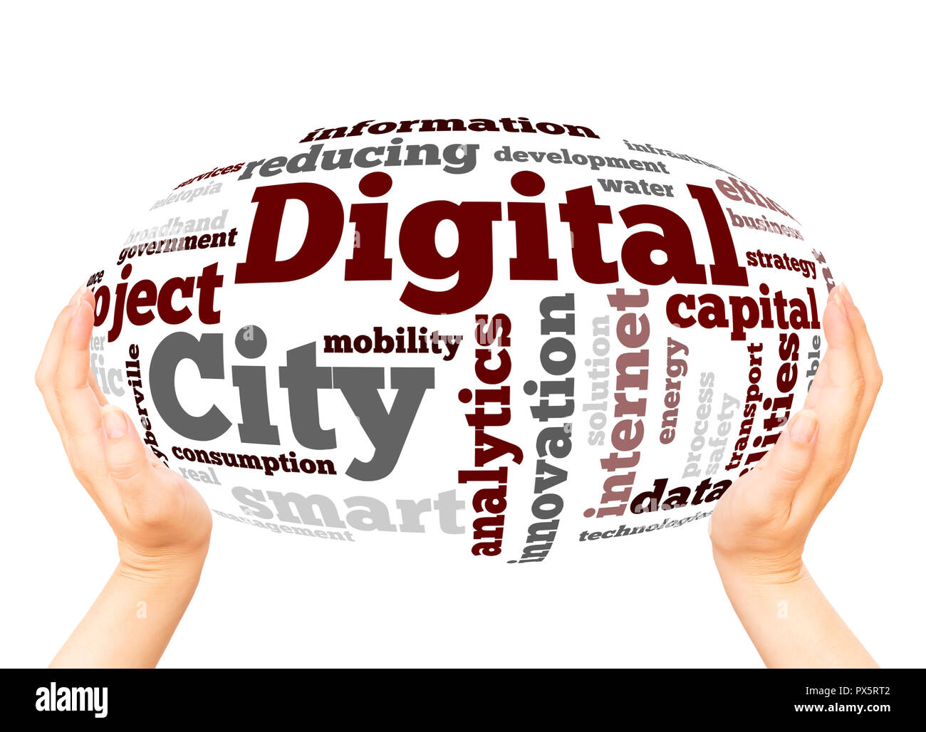 Digital City word cloud  concept on white background. - Stock Image