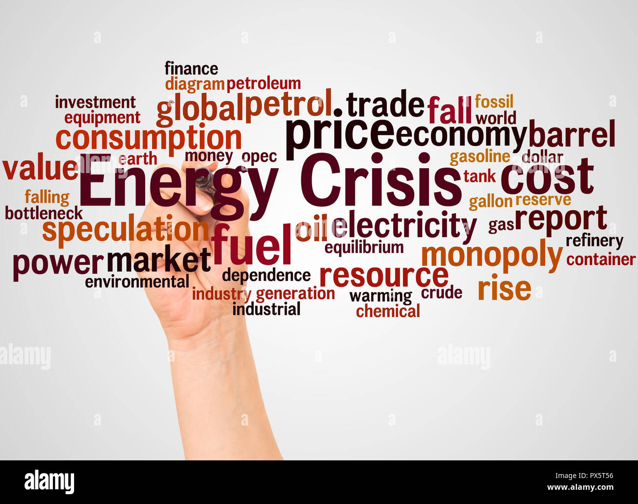 Energy crisis word cloud and hand with marker concept on white background. - Stock Image