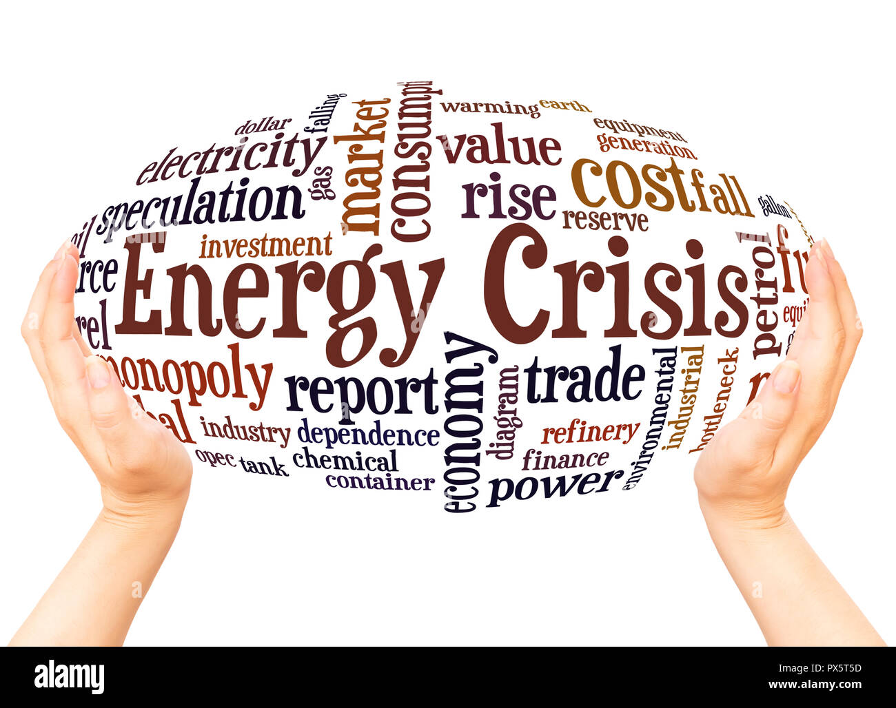 Energy crisis word cloud hand sphere concept on white background. - Stock Image