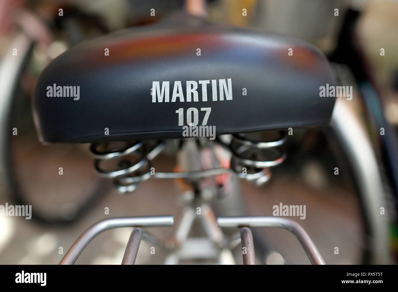 Detail of a bicycle saddle. Martin 107.  Ho Chi Minh City. Vietnam. - Stock Image