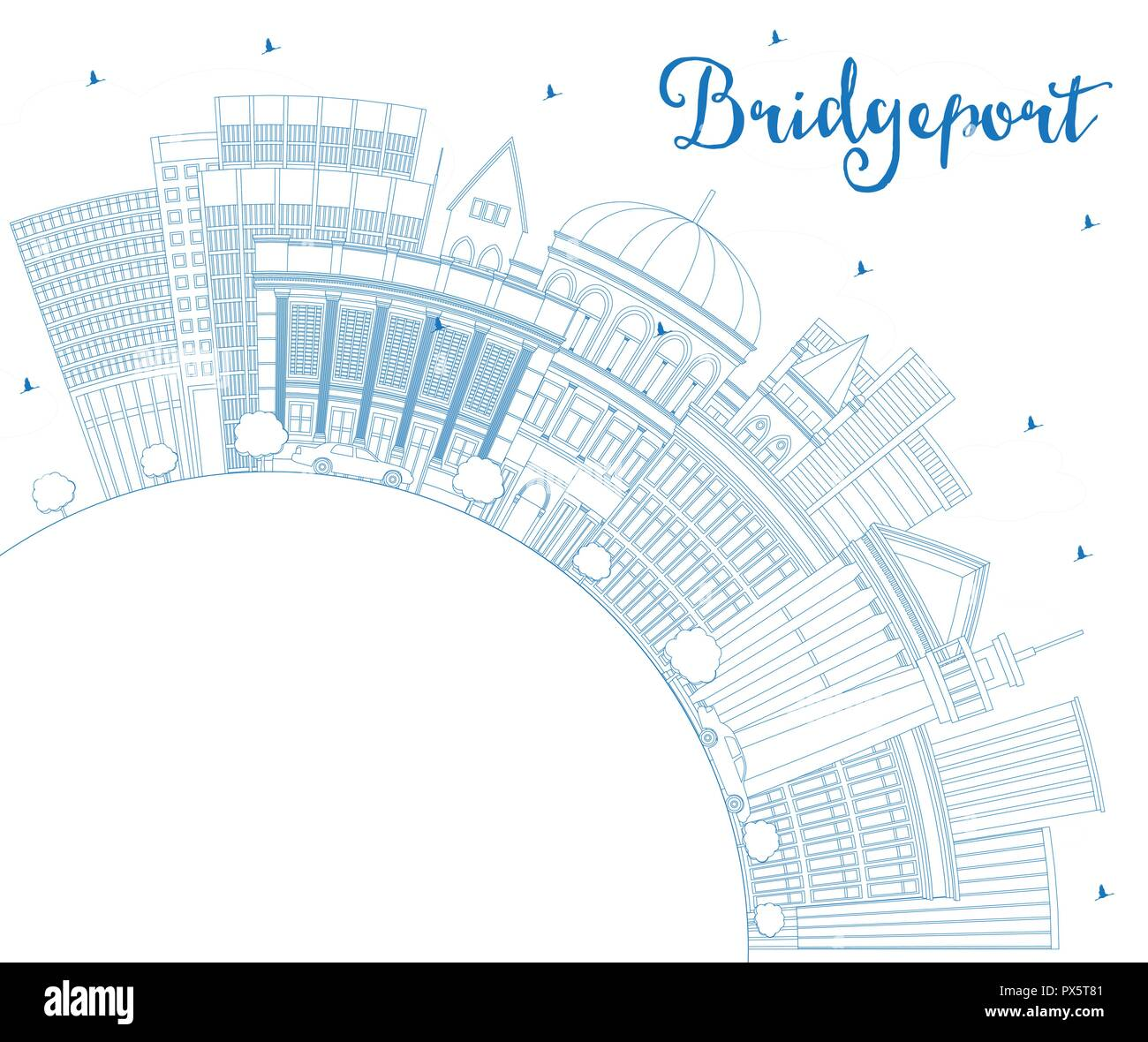 Outline Bridgeport Connecticut City Skyline with Blue Buildings and Copy Space. Vector Illustration. Travel and Tourism Concept Stock Vector