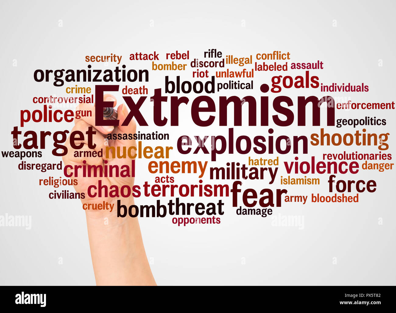 Extremism word cloud and hand with marker concept on white background. - Stock Image
