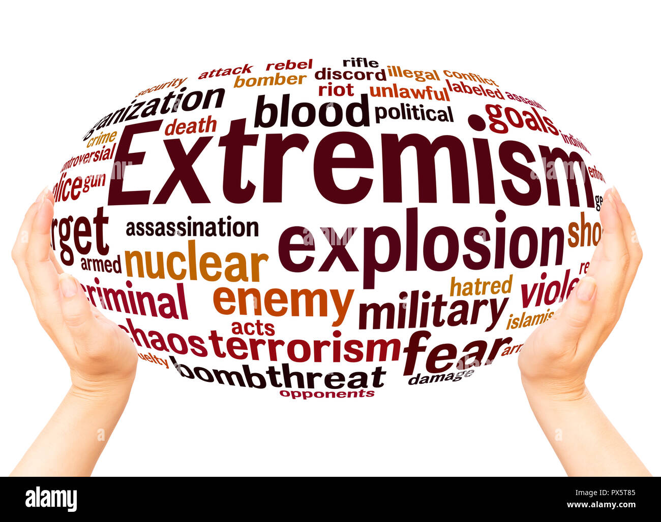 Extremism word cloud hand sphere concept on white background. - Stock Image