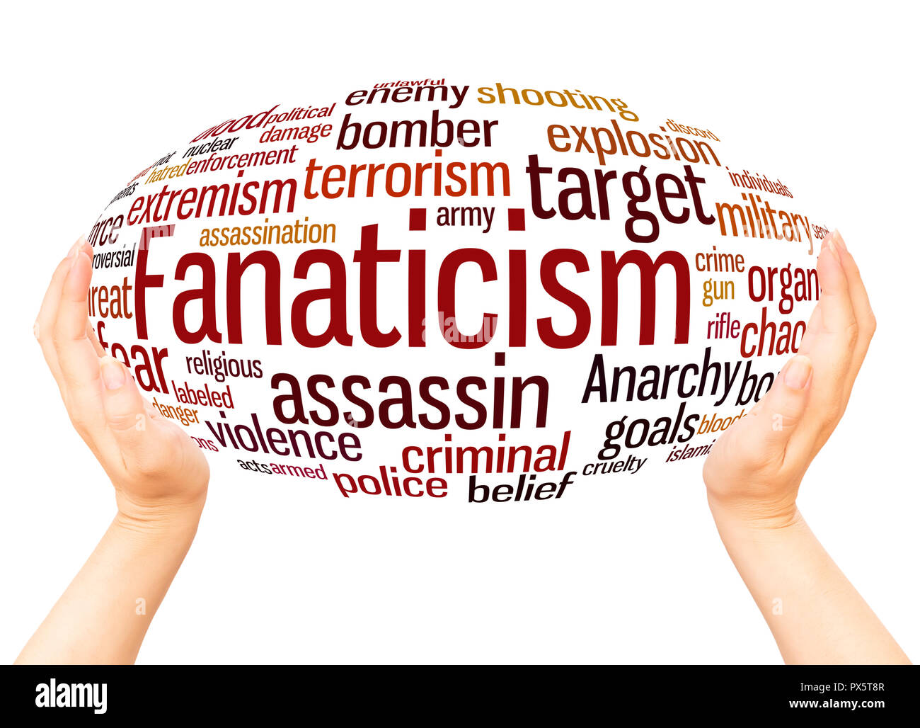 Fanaticism word cloud hand sphere concept on white background. - Stock Image