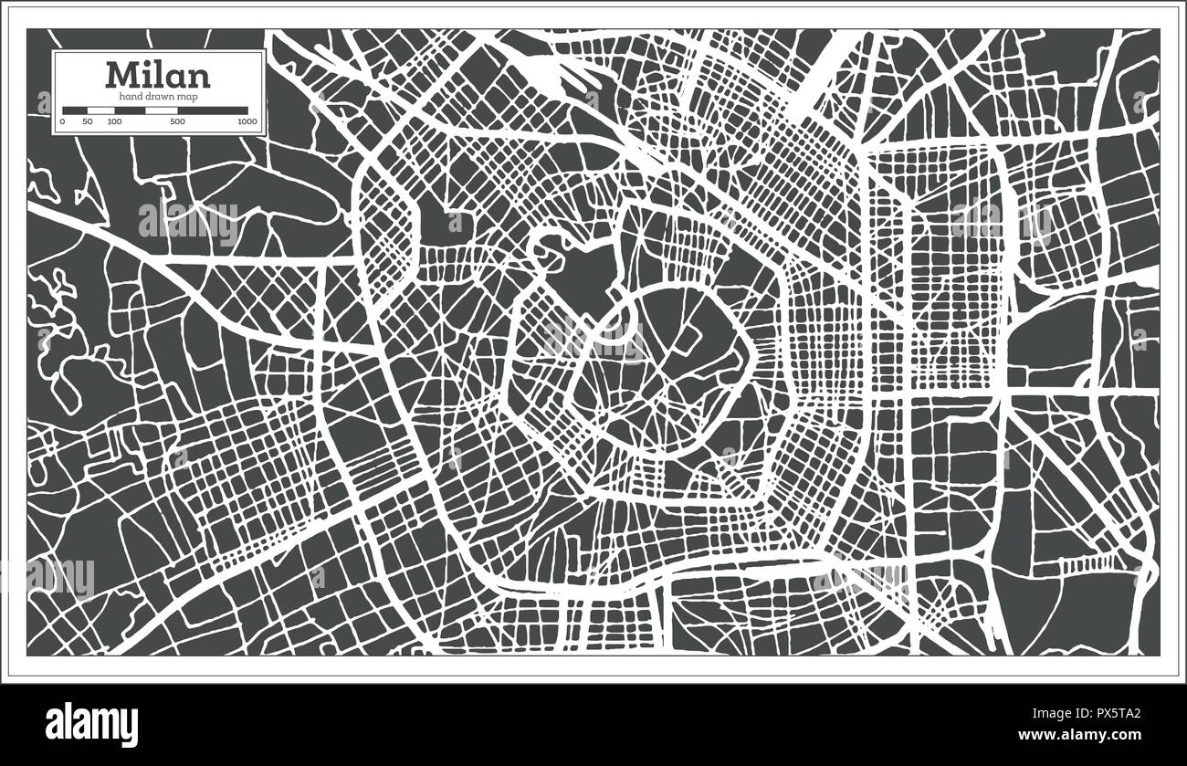 Milan Italy City Map in Retro Style. Outline Map. Vector Illustration. - Stock Vector