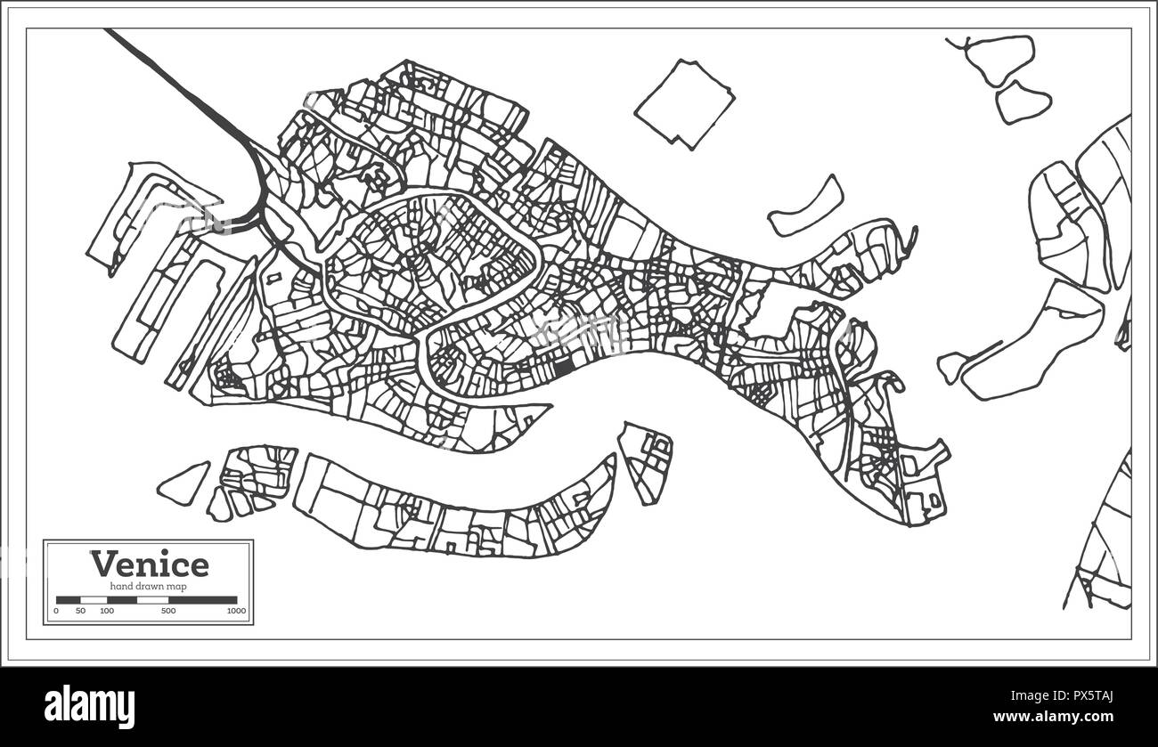 Venice Italy City Map In Retro Style Outline Map Vector