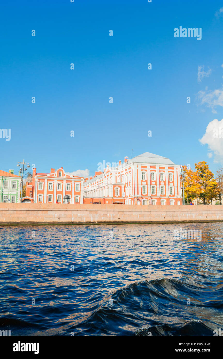 Architecture landmark of St Petersburg - Twelve Colleges building at the University embankment in St Petersburg, Russia in autumn day - Stock Image