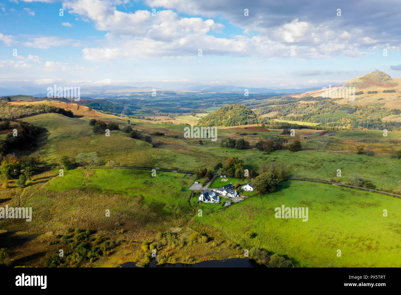 Aerial drone view of Blane Valley and Dumgoyne Hill - Stock Image