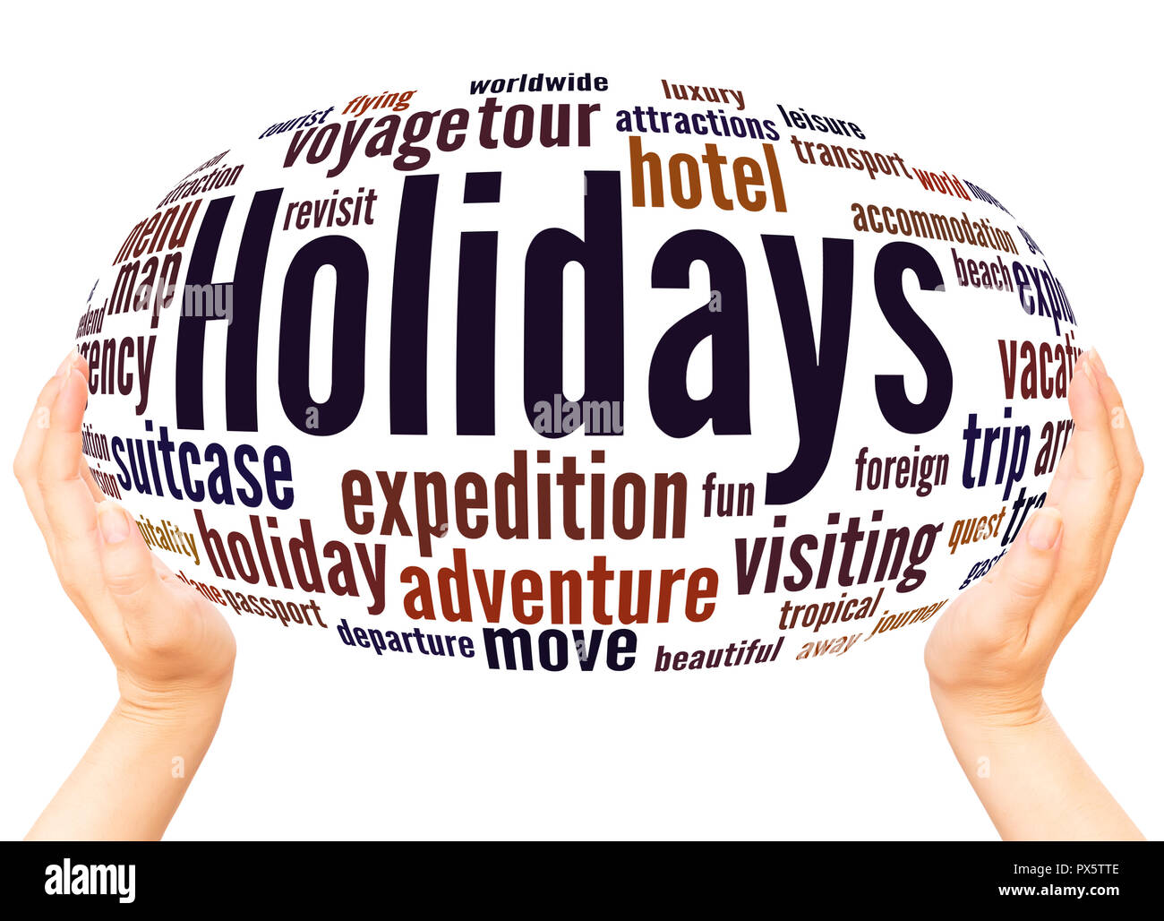 Holidays word cloud hand sphere concept on white background. - Stock Image