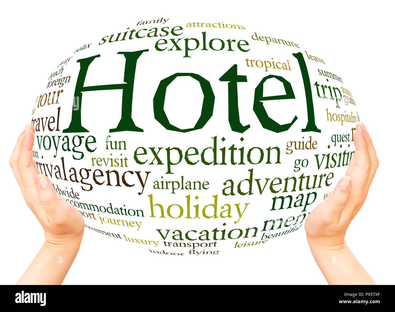 Hotel word cloud hand sphere concept on white background. - Stock Image