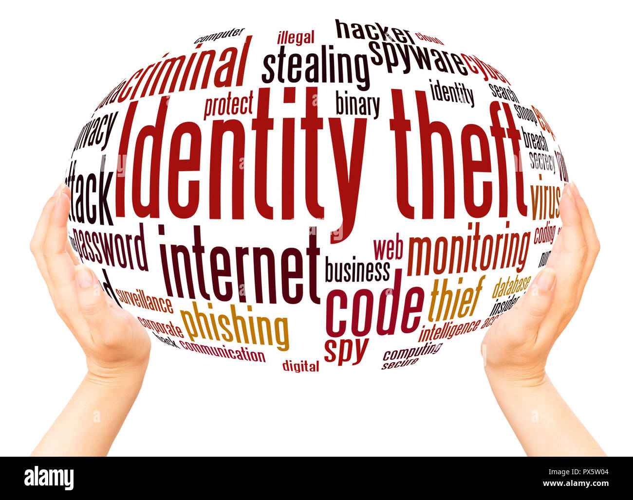 Identity theft word cloud hand sphere concept on white background. - Stock Image