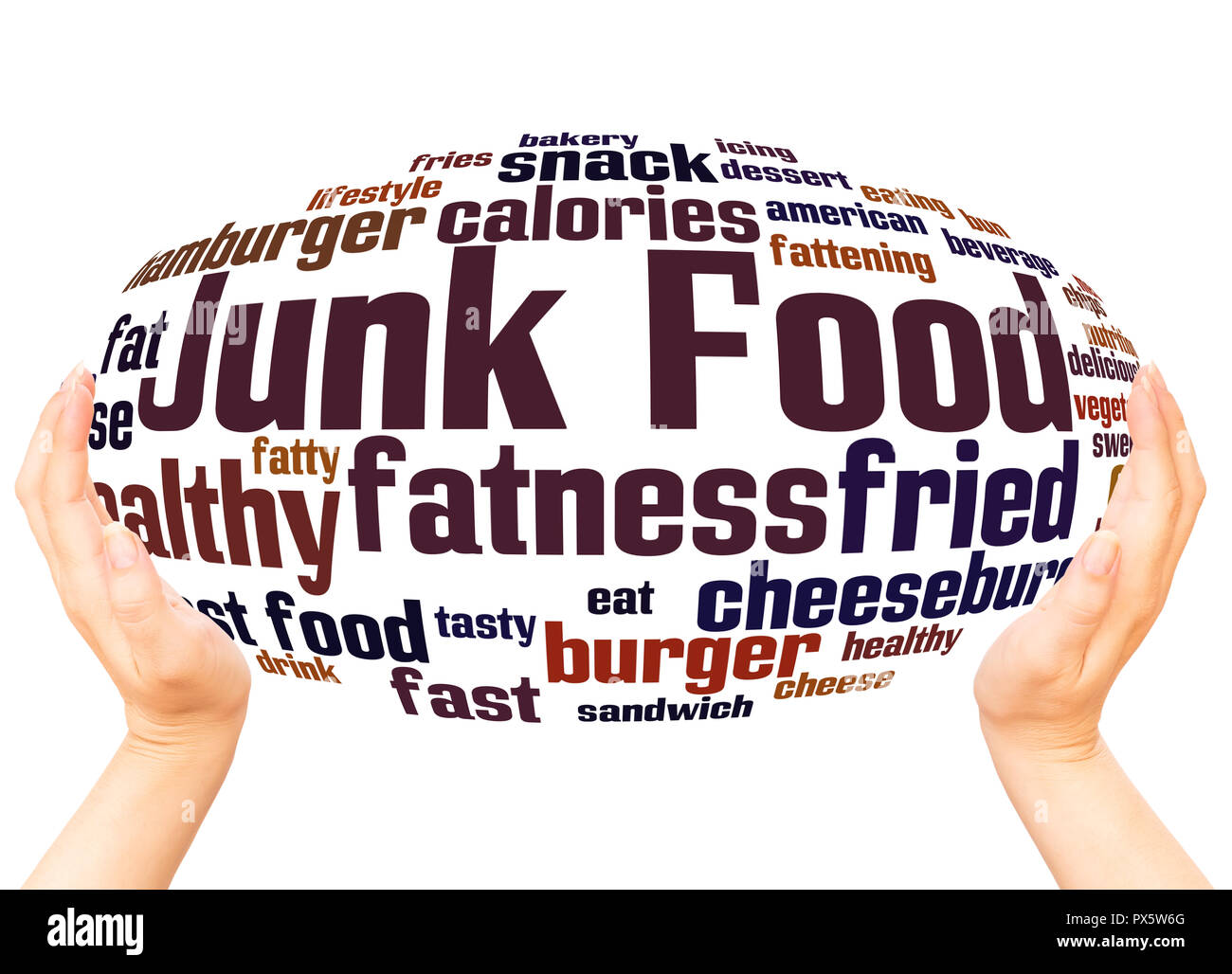 Junk Food word cloud hand sphere concept on white background - Stock Image