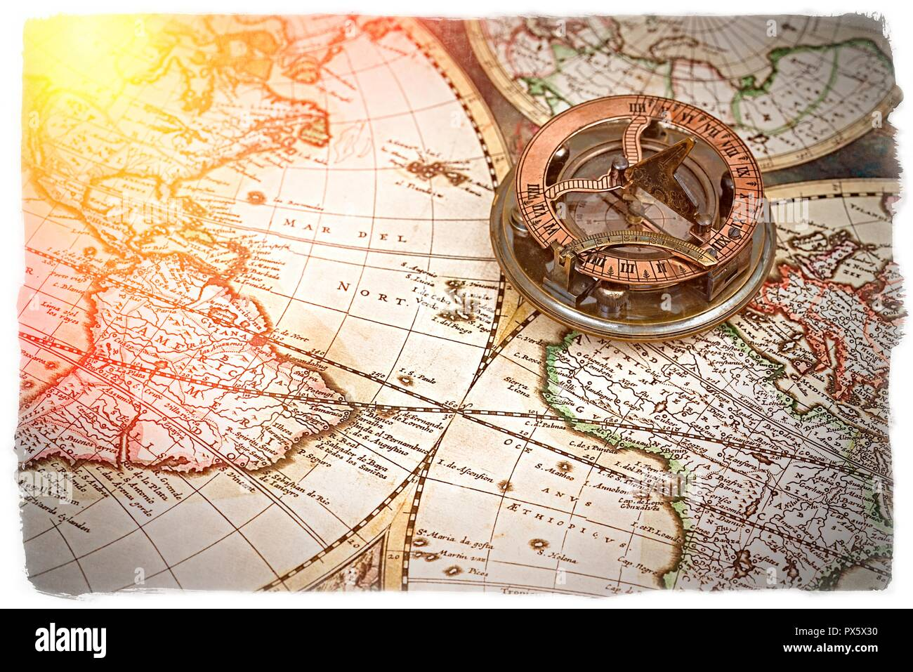Old map, compass , navigation and geography . - Stock Image