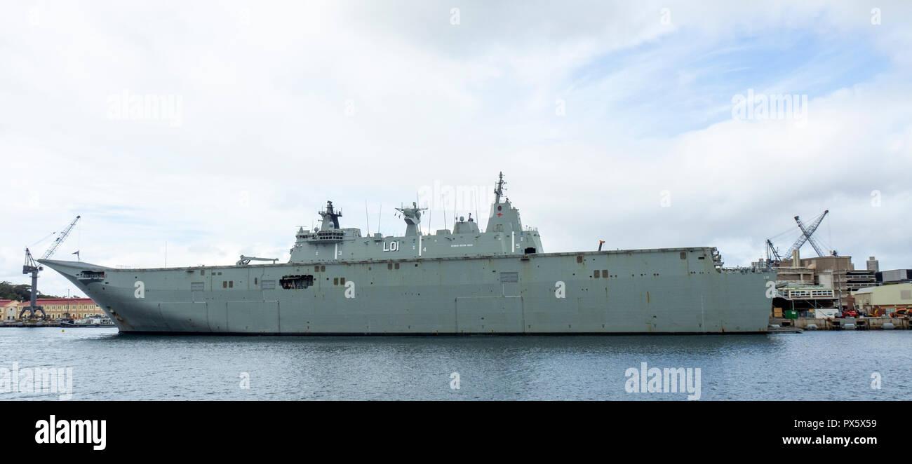 HMAS Adelaide L01 Canberra Class landing Helicopter dock at Garden Island Naval Precinct Sydney NSW Australia. - Stock Image