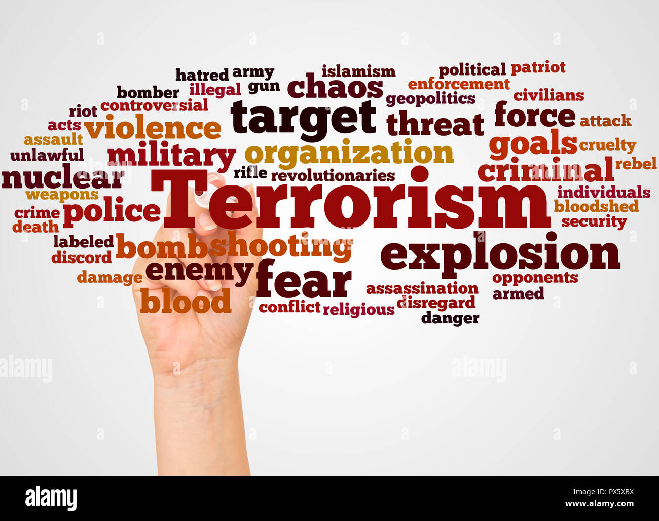 Terrorism word cloud and hand with marker concept on white background. - Stock Image