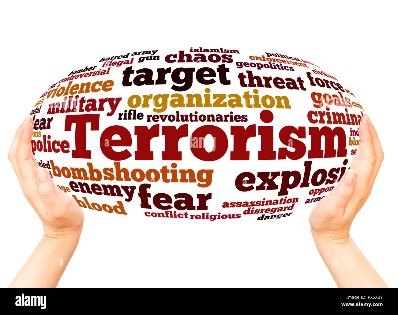 Terrorism word cloud hand sphere concept on white background. - Stock Image