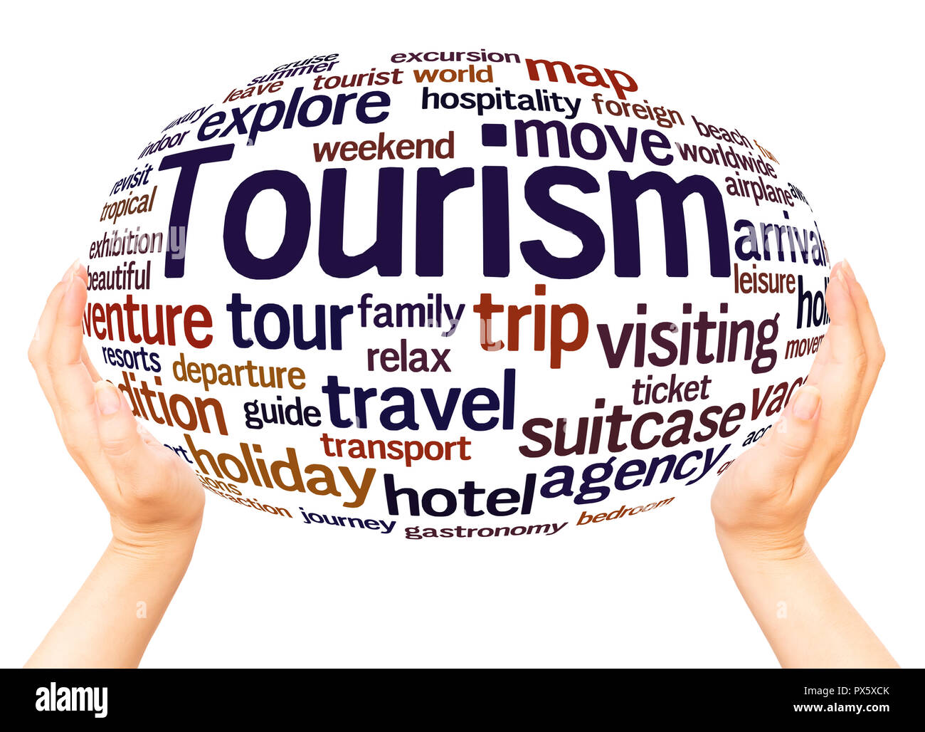 Tourism word cloud hand sphere concept on white background. - Stock Image