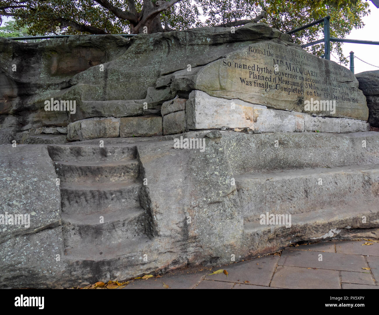 Mrs Macquaries Chair and steps carved into sandstone by convicts in the Royal Botanical Garden Sydney NSW Australia. - Stock Image