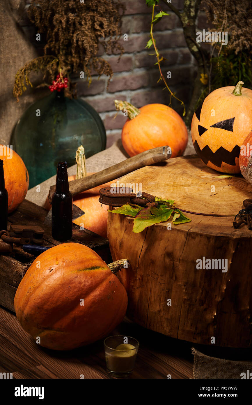 Halloween mess at the room. Halloween decorations scattered in lumber-room. - Stock Image