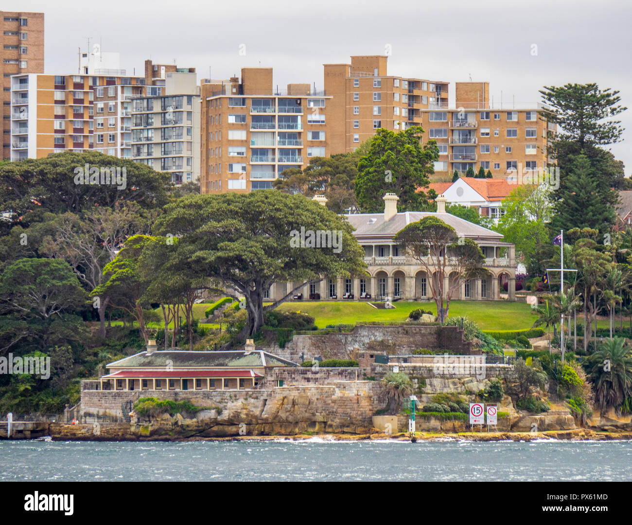Government House and residential apartments on Kirribilli Point North Shore Sydney NSW Australia. - Stock Image