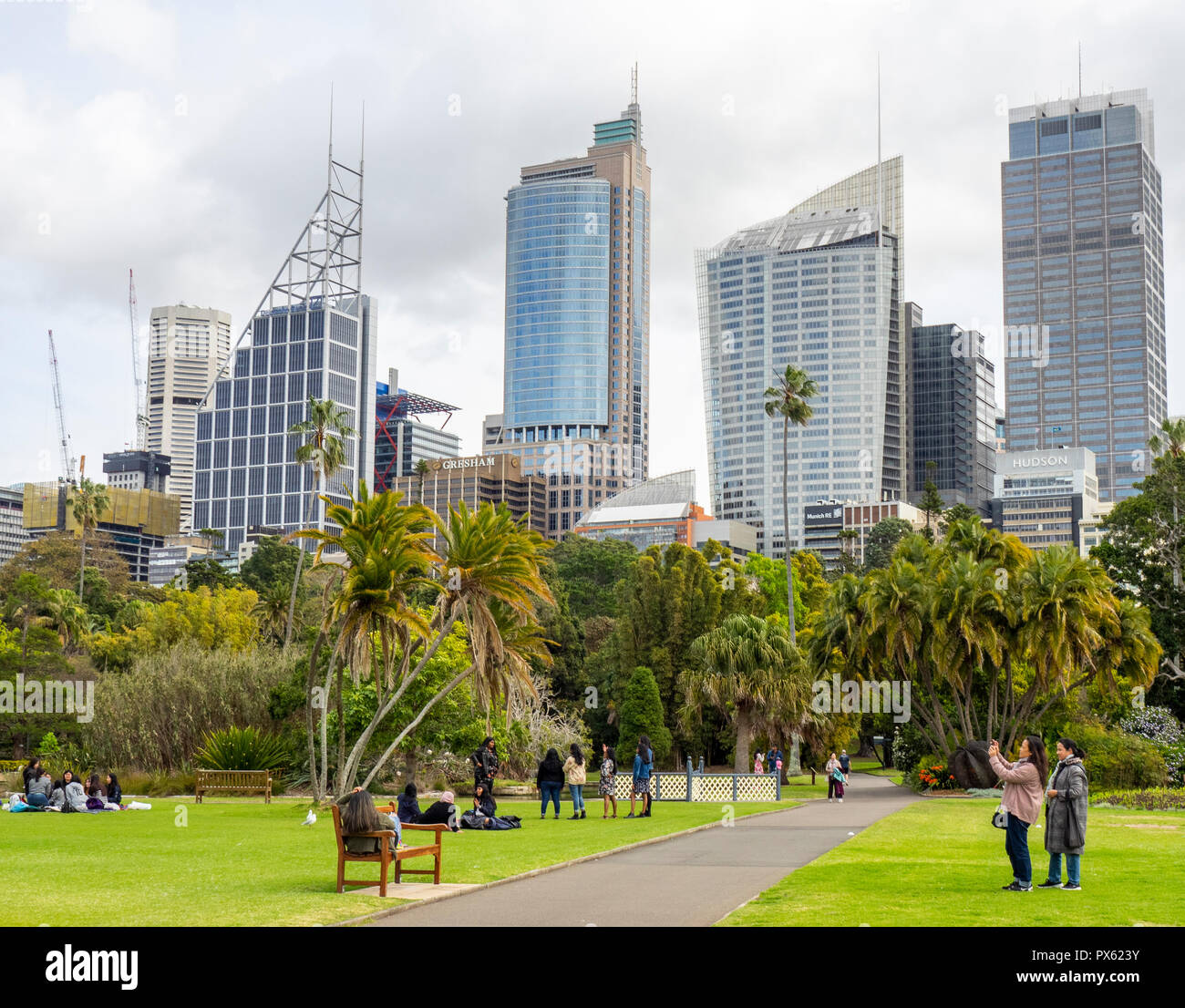 Tourists taking photographs in Royal Botanical Garden and office towers and skyscrapers of CBD Sydney NSW Australia. - Stock Image