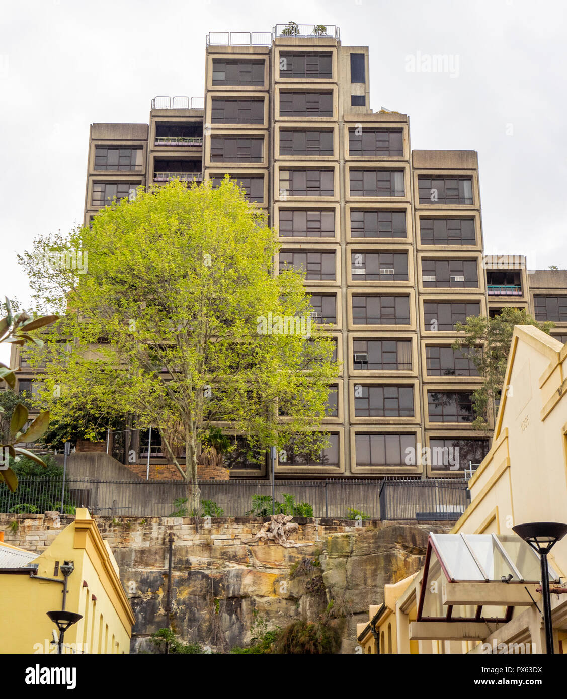 Sirius Building a Public Housing Commission block of apartments in Brutalist Architectural style in the Rocks Sydney NSW Australia. - Stock Image