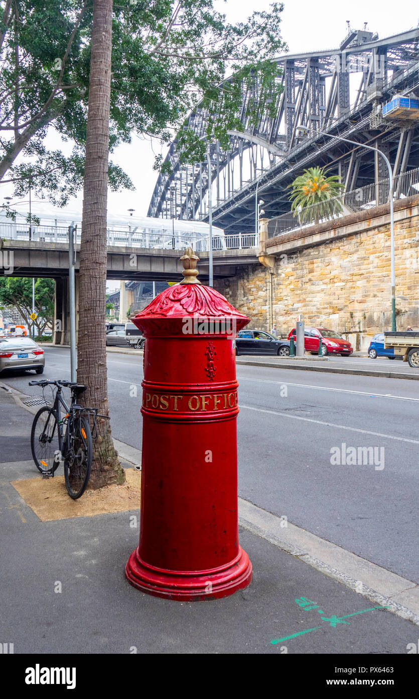 Traditional Australia Post red pillar box on Hickson Road