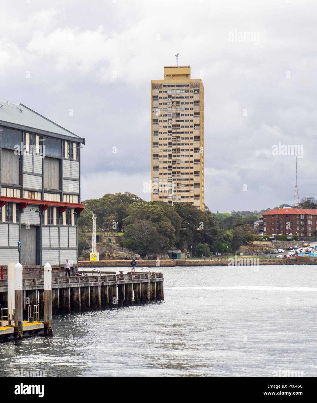 Blues point Tower residential tower and end of Pier 2/3 Walsh Bay Wharves precinct Sydney NSW Australia. - Stock Image