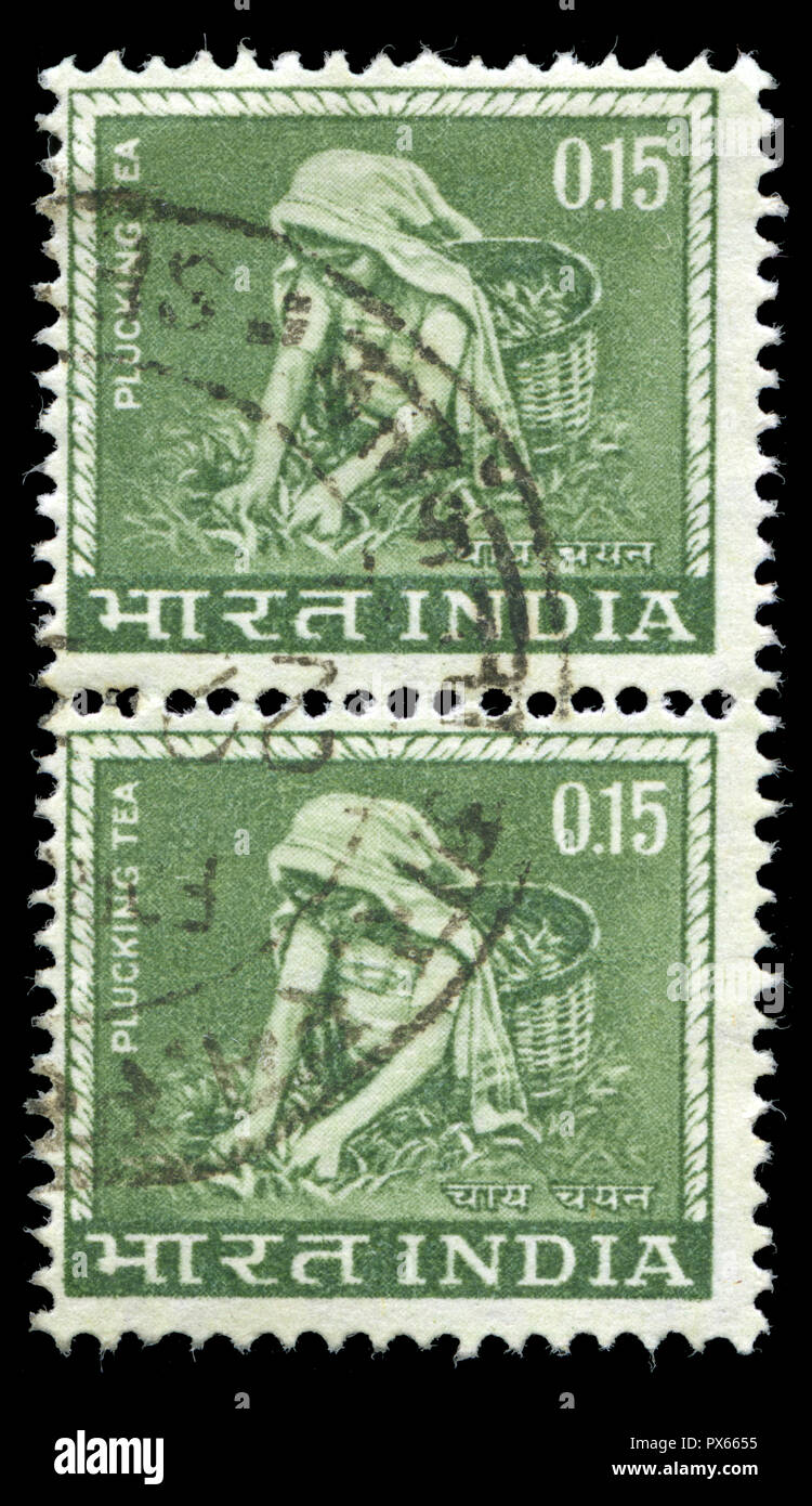 Postmarked stamps from India in the Country Motifs series issued in 1965 - Stock Image