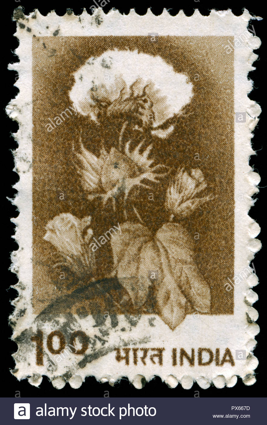 Postmarked stamp from India in the Agriculture series issued in 1980 - Stock Image