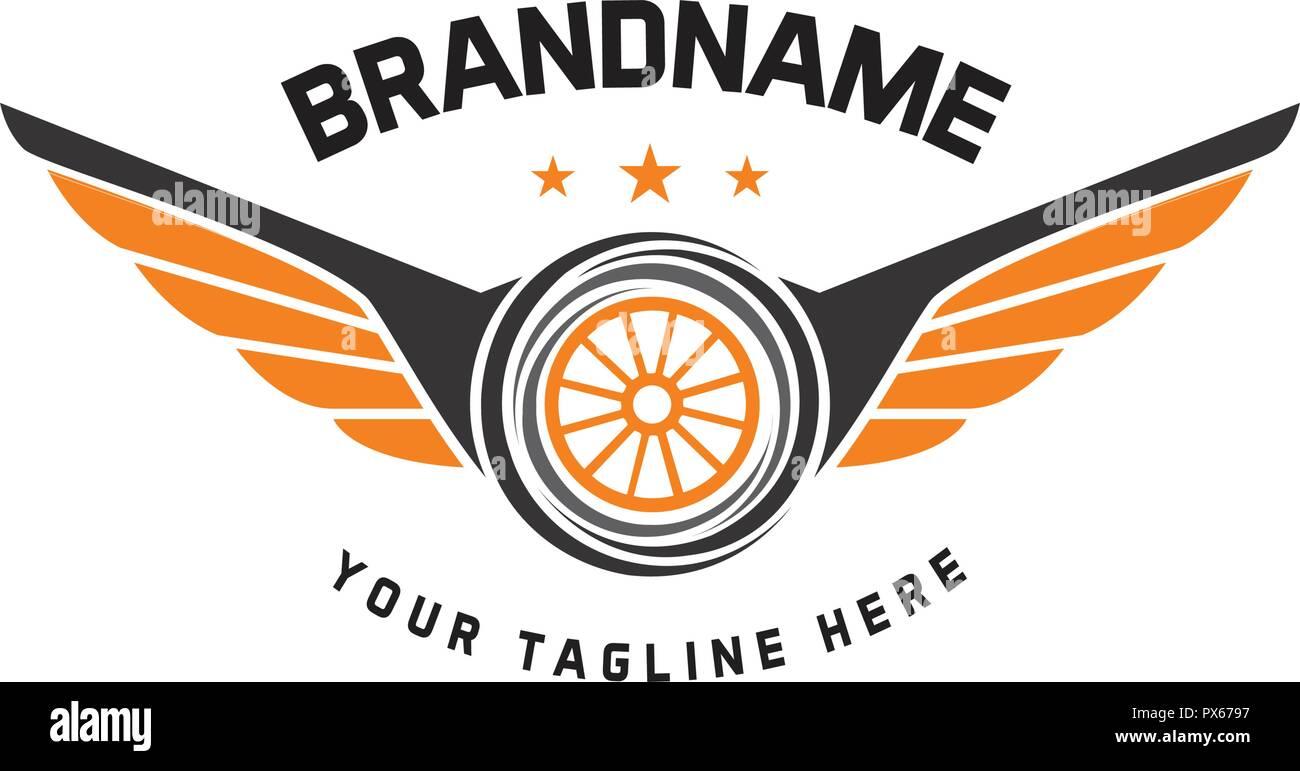 Car Wheel Logo Template Vector Design Vintage Style Auto Tire Logo Vector Stock Vector Image Art Alamy