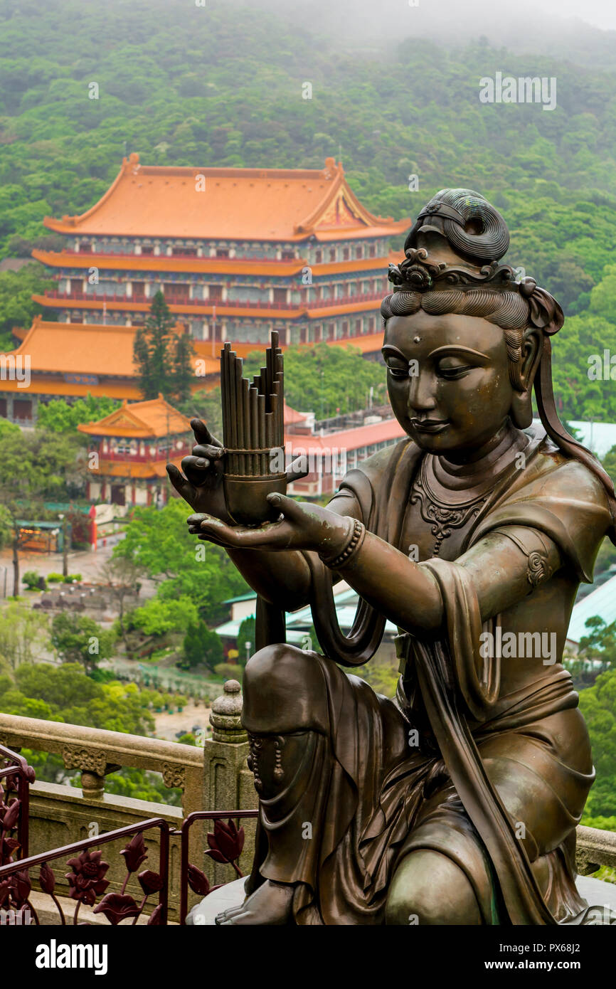 Tian Tan (Alter of heaven) The Big Buddha and Po Lin Monastery, Lantau Island, Hong Kong, China. - Stock Image
