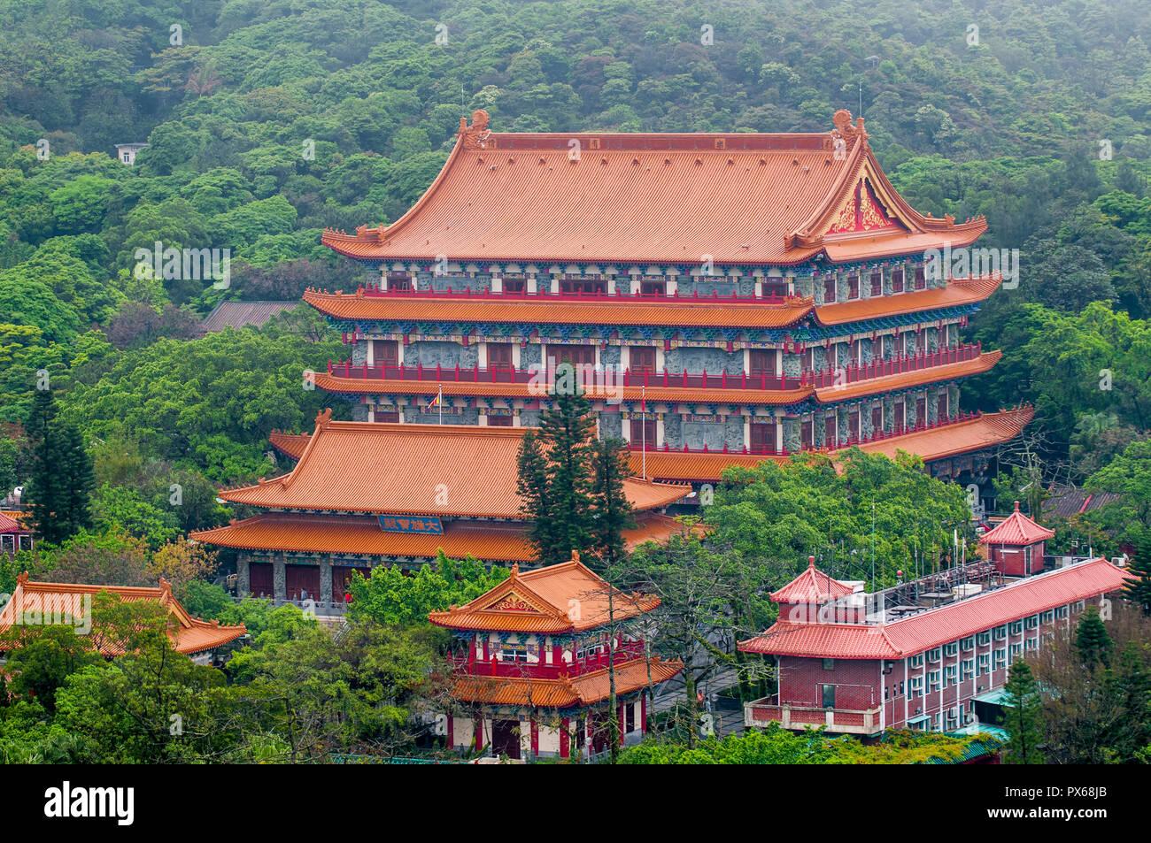Grand Hall of Ten Thousand Buddhas at the The Big Buddha and Po Lin Monastery, Lantau Island, Hong Kong, China. - Stock Image