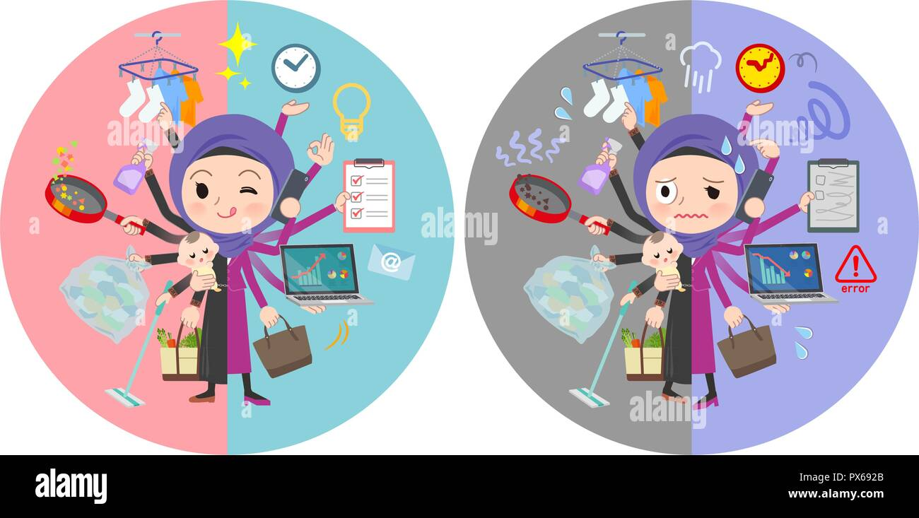 A set of women wearing hijab who perform multitasking in offices and private.There are things to do smoothly and a pattern that is in a panic.It's vec - Stock Image